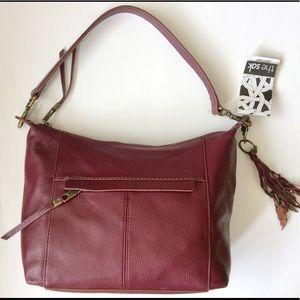Leather handbag shoulder bag burgundy red new
